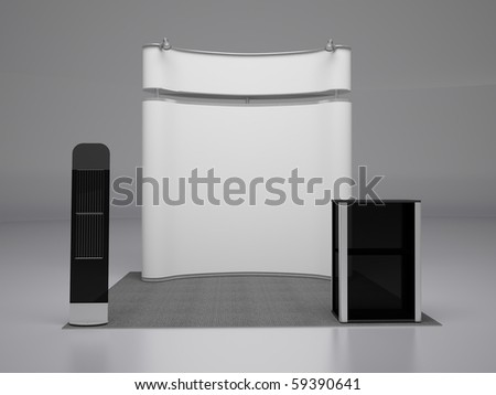 Blank trade exhibition stand.Front view. - stock photo