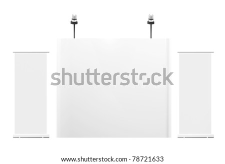 Blank trade exhibition stand with roll-up banner . Front view 3d render - stock photo