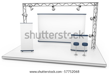 Blank trade exhibition stand with screen, counter, seats, roll-up banner and lights - stock photo