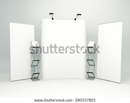 blank trade show booth for designers - stock photo