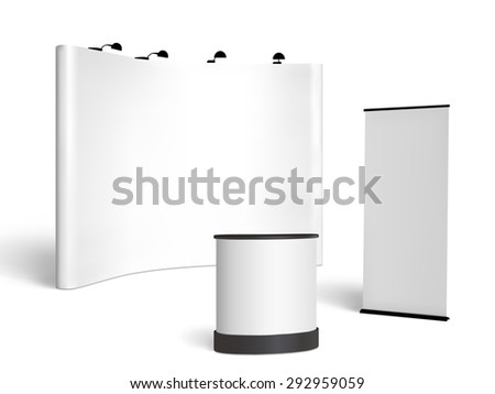 Blank trade show booth mock up. Front view.  isolated on white background - stock photo