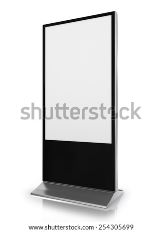 blank trade show booth on white background - stock photo