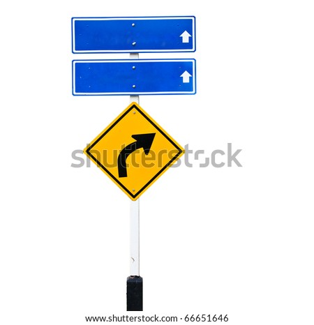 Blank traffic sign over white background - stock photo