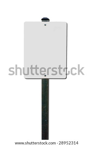 Blank traffic sign post isolated over white - stock photo