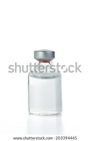 Blank transparent of drug bottle isolated on white background - stock photo