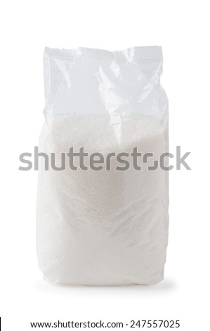 Blank transparent sugar pack or bag isolated on white background - stock photo