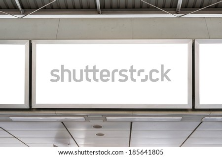 blank transportation advertisement in train station platform - stock photo