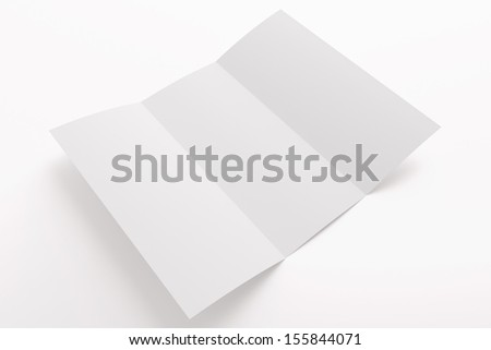 Blank tri fold brochure isolated on white to replace your design or message - stock photo