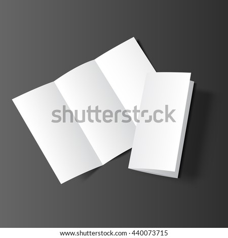 Blank tri fold cover flyer on dark background. 3D illustration with soft shadows. Raster copy of vector file. - stock photo