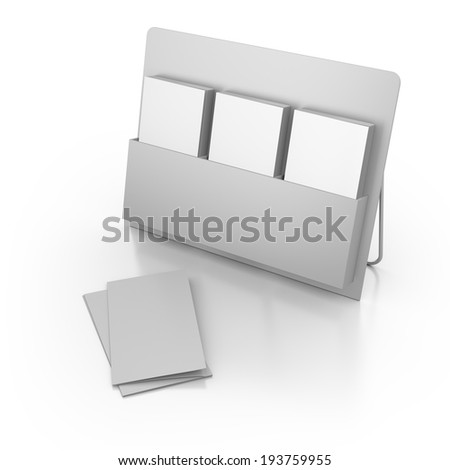 blank triple holder for dl size leaflets on white background.