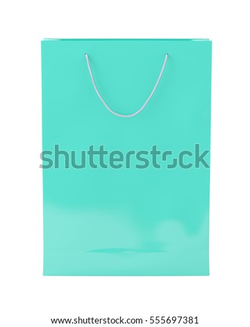 Blank turquoise paper shopping bag on white background. Isolated include clipping path. 3d render.