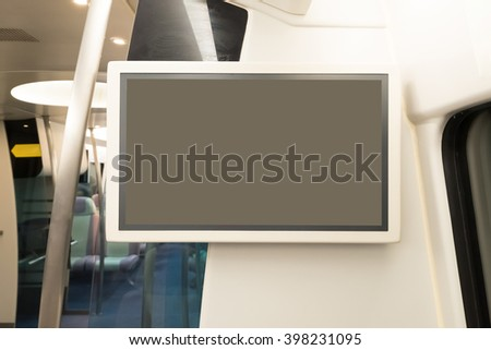 blank tv billboard in metro railway station, shot in asia, hong kong, great for your copy space - stock photo