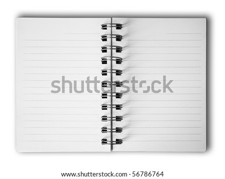 Blank two face white paper notebook