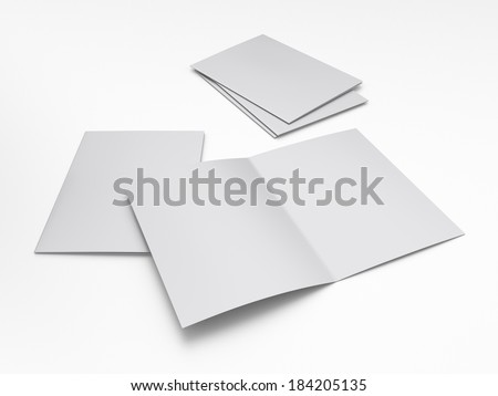 Blank two fliers or leaflets in a4 size on white - stock photo