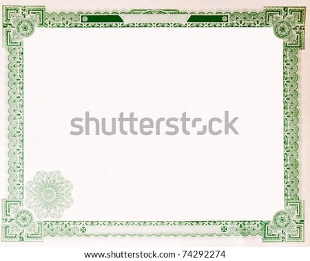 Blank U.S. Stock certificate issued in 1914.  Most of the certificate has been removed, so just the boarder remains. **not under copyright** - stock photo