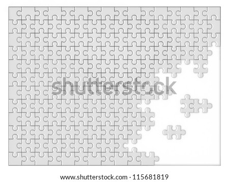 blank unfinished jigsaw - stock photo