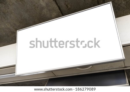 blank upper billboard above the the head level - stock photo