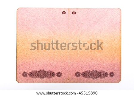 Blank USSR  international passport pages - stock photo