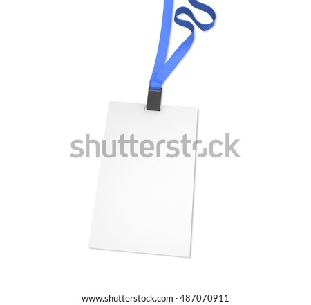 Blank vertical bagde with blue ribbon, isolated on white. Mockup, 3D illustration.
