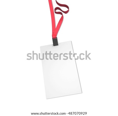 Blank vertical bagde with red ribbon isolated on white. Mockup, 3D illustration.