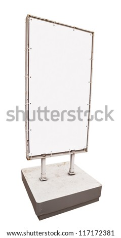Blank vertical billboard isolated on white background