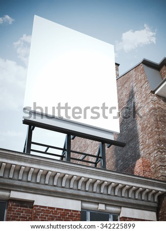 Blank vertical billboard standing on the classic building  - stock photo