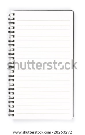 Blank vertical memo pad. Isolated on pure white