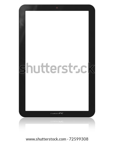 Blank vertical tablet PC template - stock photo