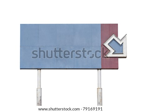Blank vintage giant arrow sign near old Route 66. - stock photo