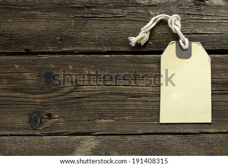 Blank vintage label on old wooden boards. - stock photo