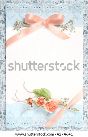 blank vintage paper with flowers design - stock photo