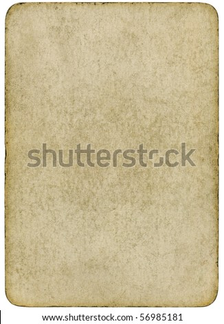 Blank vintage playing card isolated on a white background. - stock photo
