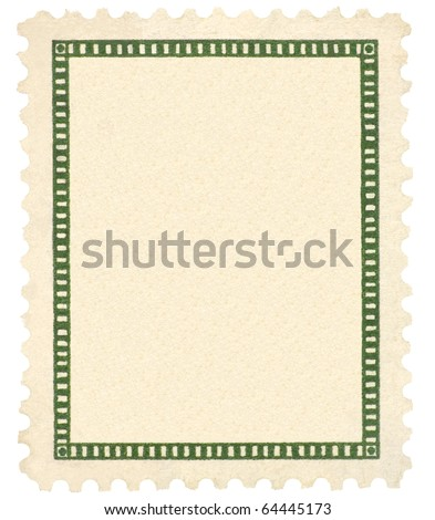Blank Vintage Postage Stamp, Green Vignette Frame Macro, Vertical, Isolated Framed Textured Paper - stock photo