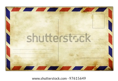 Blank vintage postcard for your text and images. - stock photo