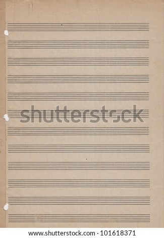 Blank vintage sheet music with copy space. - stock photo