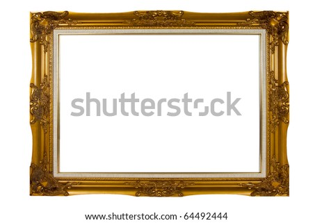 Blank vintage wooden picture frame - stock photo