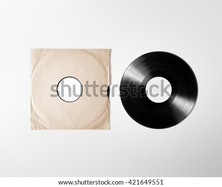 Blank vinyl album cover sleeve mockup, isolated, clipping path. Gramophone music plate clear surface mock up. Paper sound shellac disc label template. Vintage old grunge cardboard vinyl disk packaging - stock photo
