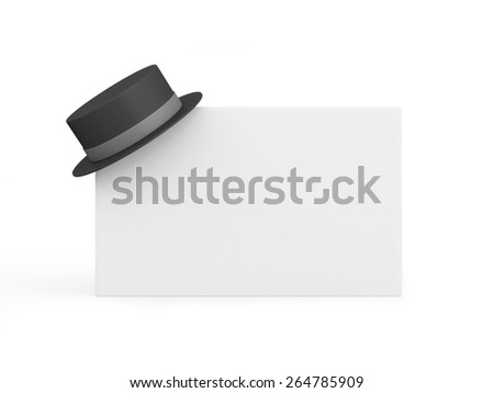 Blank visit card with top hat isolated on white background - stock photo