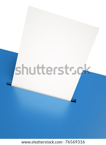 Blank voting paper in a blue ballot box slot. 3D render - stock photo