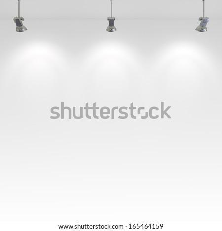 Blank wall and interior lighting. - stock photo