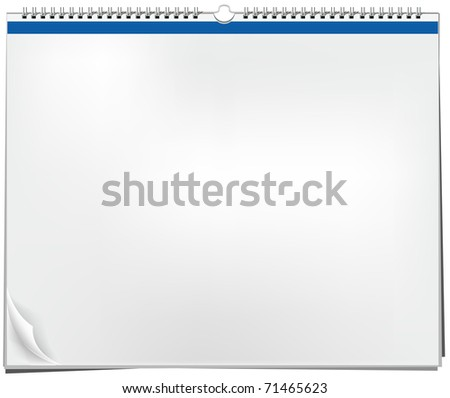 Blank wall calendar with spring - stock photo