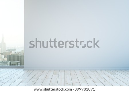 Blank wall in interior with white wooden floor and city view. Mock up, 3D Rendering - stock photo