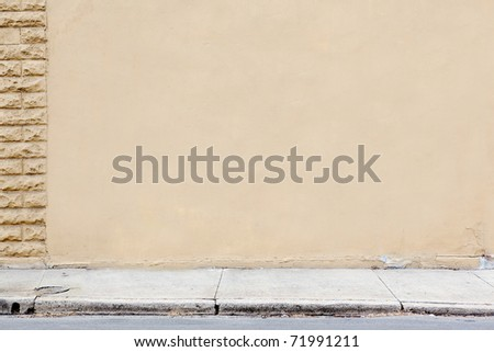 blank wall sidewalk background - stock photo