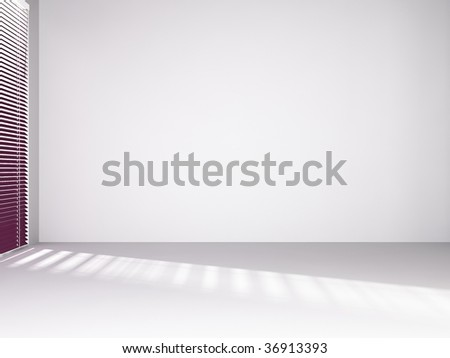 Blank wall with window and red curtain - stock photo