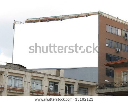 Blank Wallscape Billboard - Including clipping path around blank area. - stock photo
