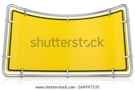 Blank warning sign. Bended 3D render illustration isolated on white background - stock photo