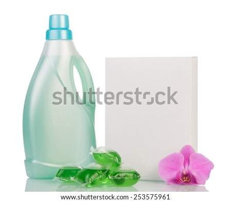 Blank washing powder and Cleaning items on white - stock photo