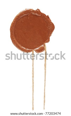 Blank wax seal isolated on white background - stock photo