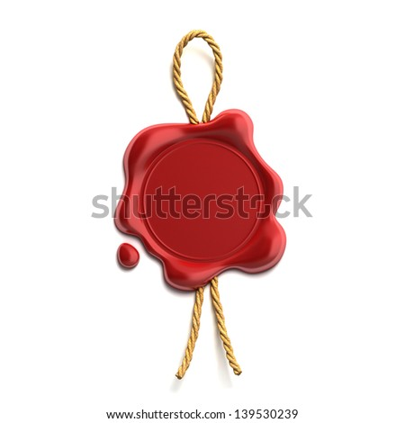 blank wax seal with cord - stock photo
