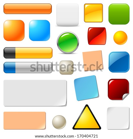 Blank web buttons and stickers. Raster version of EPS image 110632496 - stock photo
